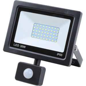 Led floodlight flat 30 watt smd + sensor, IP 65