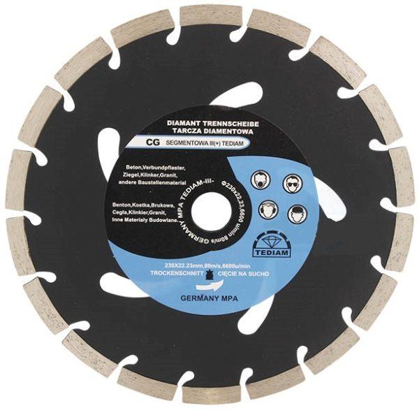 Teemantketas CG Ø230 x22.23 x 10mm, betooni lõikamiseks, plokid, TEDIAM osta Eestis - 7x7.ee