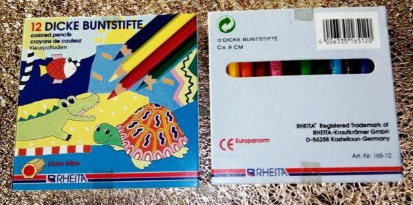 Värvipliiats 12 värvi, RHEITA 9cm, COLOR CRAYONS